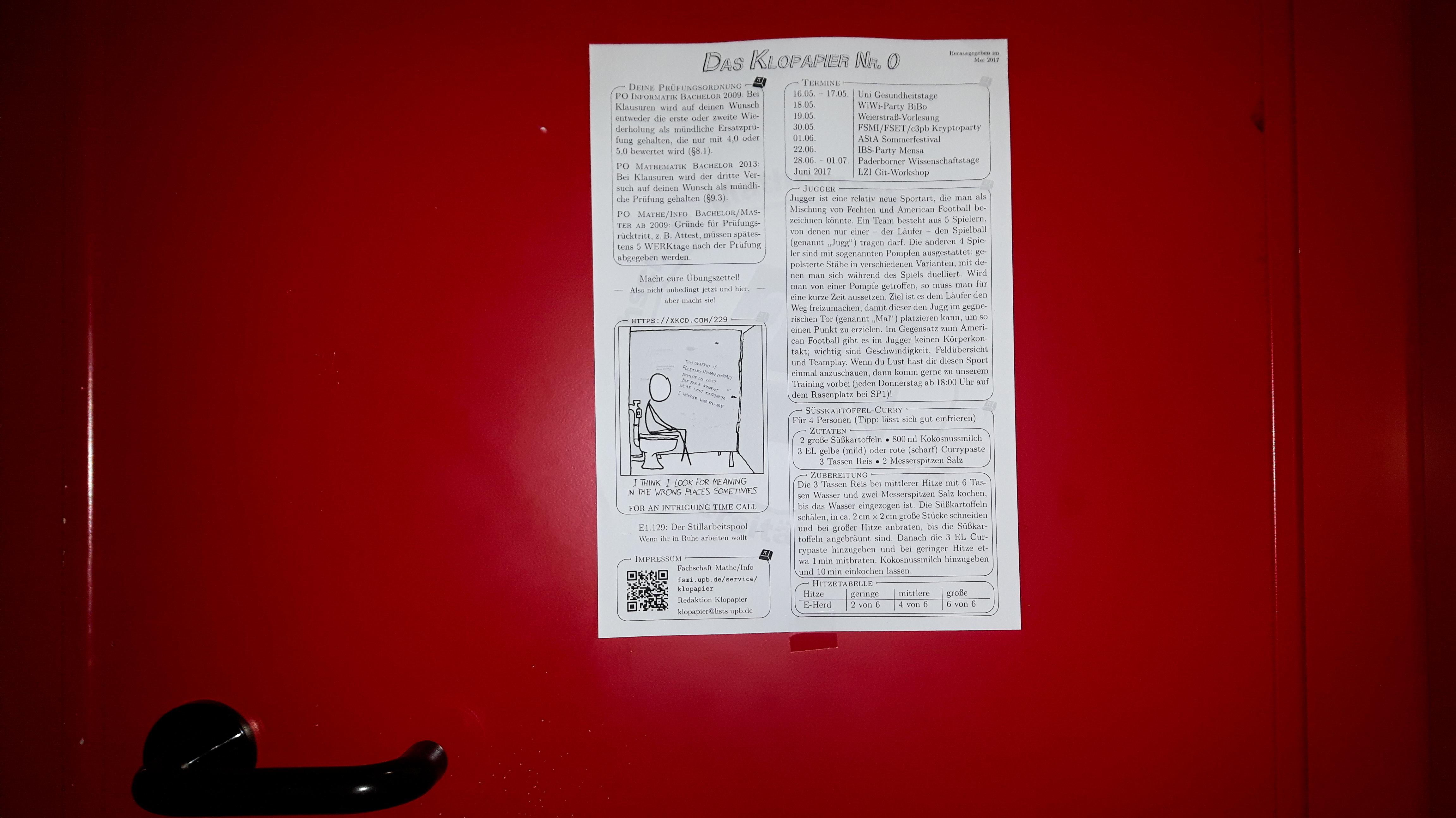 Diese Klolektüre tauchte jüngst in verschiedenen Toiletten der Uni Paderborn auf, Bild: sth